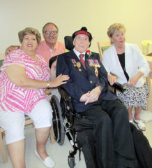 Douglas Stuart, centre, celebrated his birthday with his kids – Diana McComber, Kenneth Stuart and Janet Stuart – as well as grandchildren and great grandchildren, and fellow residents of Meadowpark Nursing Home in Chatham on June 23.