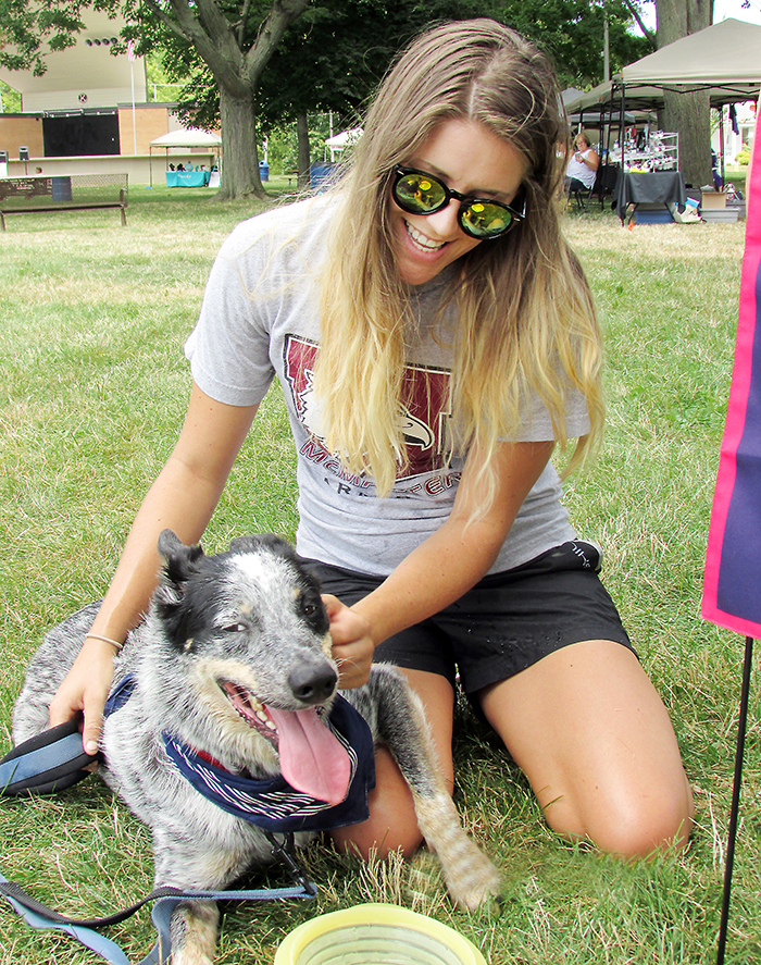 Chatham resident Halleigh Lucier walked over to Tecumseh Park Saturday to check out the I Love Dogs Festival going on with her canine companion, Luke. Lucier adopted the Australian cattle dog/border collie mix on June 20, the day he turned three.