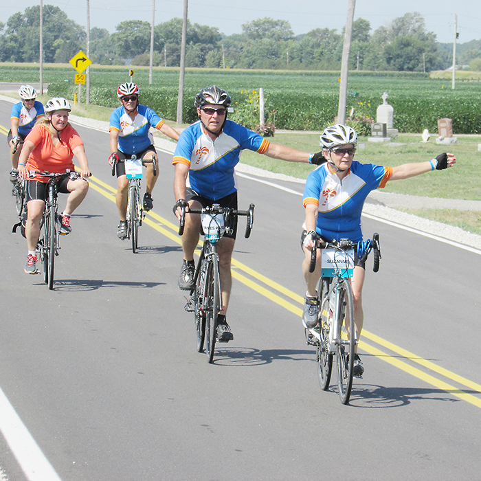 Cyclists lined Riverview Line  as part of the Great Waterfront Trail Adventure 2016.