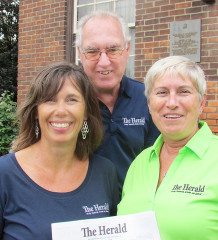 The communities of Thamesville, Bothwell and Dresden have a new newspaper as of last week as the Herald published its first issue. Here, staff members Heather Wright, Barry Wright and Connie McFadden are seen at the paper's official opening.