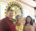 The Chatham Voice's Bruce Corcoran, left, recently spoke to the Chatham Rotary Club about the newspaper's three years of operation.  With him are Rotarians Tania Sharpe and Darlene Smith, who also works at The Voice.