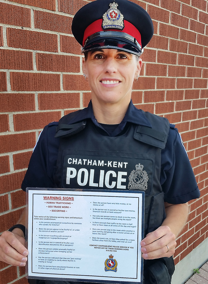 Chatham-Kent police Const. Renee Cowell showcases the checklist being distributed to area hotel/motels to help them identify potential victims of human trafficking.