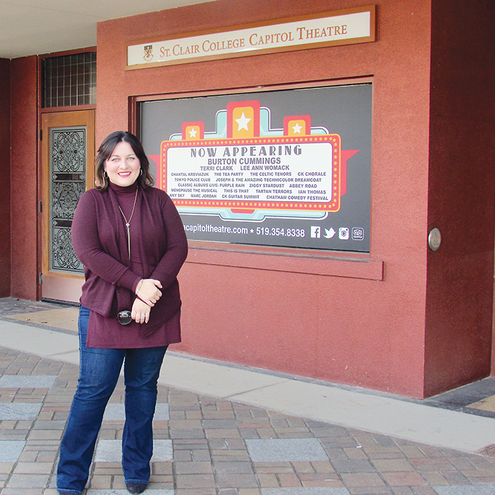 Rachel Schwarz stands outside the Capitol Theatre, a facility her Studio Black group hopes to be managing by sometime in 2017.