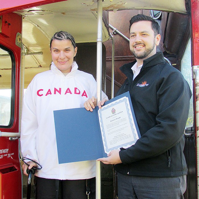 Para-athlete Patricia Wright was welcomed back to Chatham last week with open arms, and a double-decker bus.