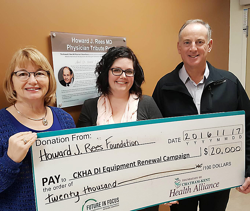 Anne Fisher, President, Howard J. Rees Foundation; Candice Jeffrey, Development and Communication Lead, Foundation of CKHA; Ed O'Brien, Vice-President, Howard J. Rees Foundation.