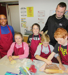 Thamesview Family Health Team nutritionist Coraine Wray, left, was at Victor Lauriston Public School Friday for the conclusion of an 8-week pilot project teaching Grade 5 and 6 students about proper nutrition. Making cookies with her are Dawson Hodges, co-op student from McGregor Secondary School, Mackenna Lopresti, Kaden Lovell (standing), Zachary Eldridge and Aidan Reeves.