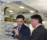 Peter Fragiskatos, Member of Parliament for London North Centre, and Mike Kilby, President of Dajcor Aluminum, tour the Chatham facility. The federal government announced Monday that it is investing up to $2.48 million for the company to increase production capacity.