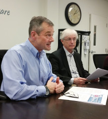 Rob Devitt, left, and Ken Dean – the supervisor and interim CEO of the Chatham-Kent Health Alliance respectively – meet with local media Jan. 18 to discuss progress in revamping oversight at the alliance.