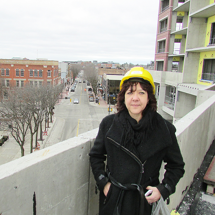 Connie Beneteau, administrator with the Historic Downtown Chatham BIA, toured the Boardwalk on the Thames project recently, with a handful of others. While a great deal of work remains to be done, project supervisor Brian Chute said it is hoped to be completed by Christmas.