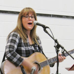 Michelle Wright performs before the students of Merlin Area Public School on March 9.