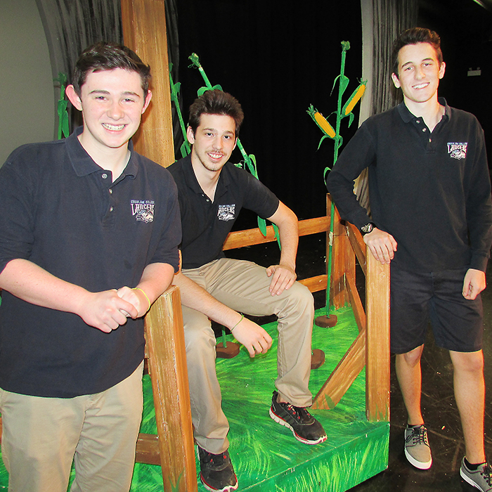 From left, Jack Gillis (the Cowardly Lion), Matt Buis (The Scarecrow), and Zach Coristine (the Tin Man) are part of this year's UCC Theatre Company's Wizard of Oz production, taking place April 5-8.
