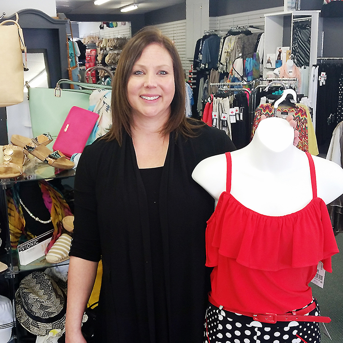 Jackie Lambkin of Serena's Ladies Wear in Blenheim shows off some of her spring apparel. Serena's is one of the local ladies' boutiques taking part in two fashion and fundraising events in April, put on by Patricia M. Productions.