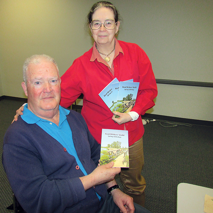 Chatham-Kent Writers' Guild president Paul Ritchie, with long-time guild member Betty Anderson, showcase the latest spring anthology of poems and short stories, available to the public for $5.