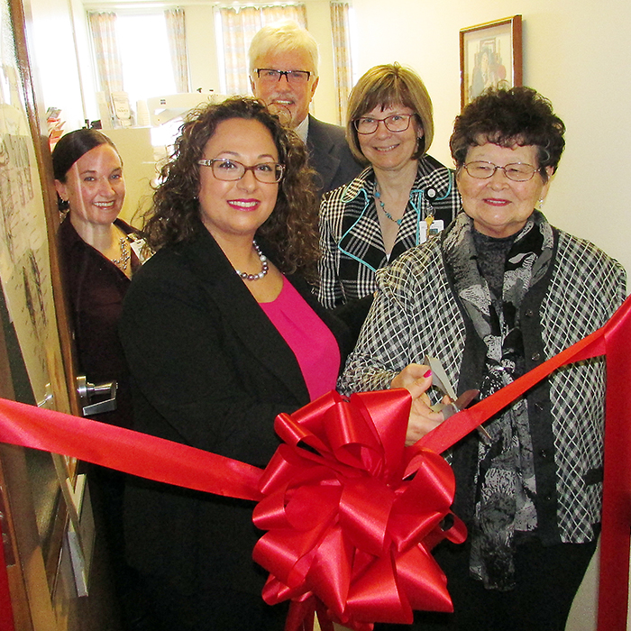 From left, Nicole Drew, speech language pathologist; Dr. Nadine Yammine, laryngologist; Rick Nicholls, C-K Essex MPP; Lori Marshall, CKHA CEO; and Eunice DeWal-Segee, patient, celebrating the official opening of the Chatham-Kent Health Alliance's Dysphagia and FEES (flexible endoscopic evaluation of swallowing) services suite at the Chatham Campus on Friday.