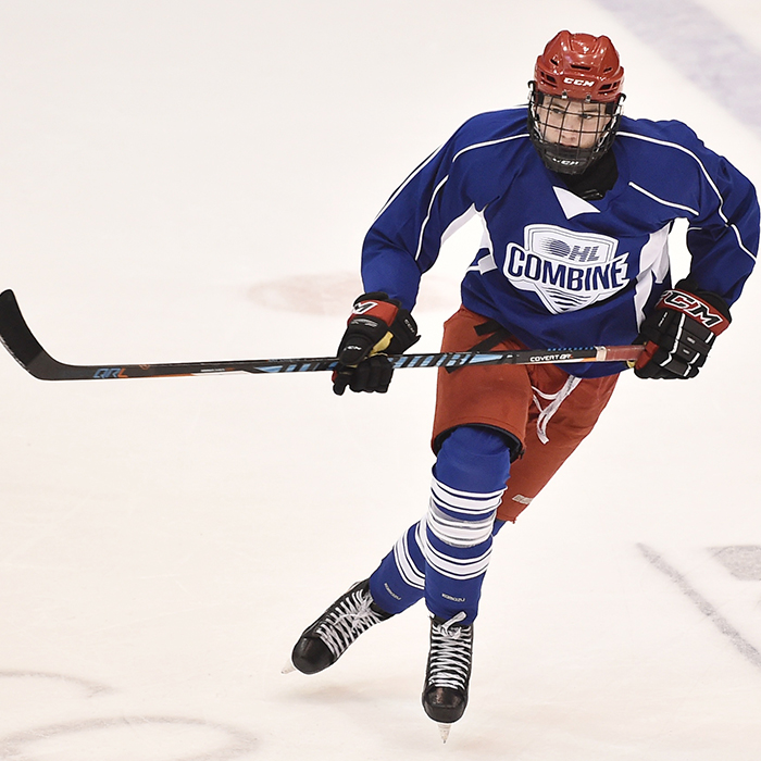 Grayson Ladd is put through the paces at the OHL combine. The Chatham-Kent Cyclone went 13th overall in the OHL draft. (Aaron Bell/ OHL Images)