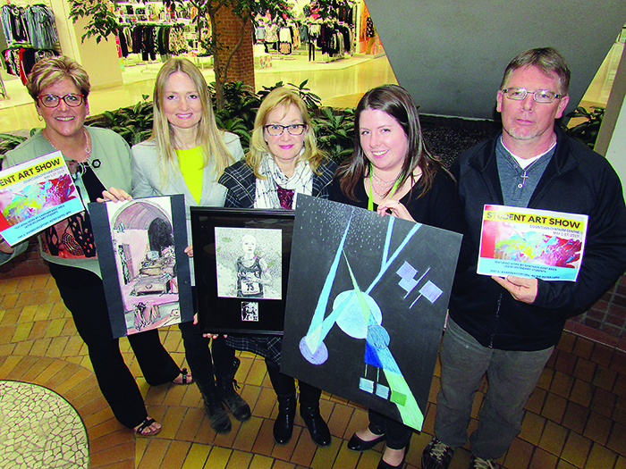 Art teachers in the LKDSB worked together and will host a juried art show at the Downtown Chatham Centre May 1-17. Pictured are Bev DeKoning, JMSS; Cheryl McDonald, LCSS (Dresden); Trish Myers, CKSS; Jennifer McQuade, JMSS; and Bryan deBakker, Ridgetown.