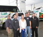 From left, Leon LeClair, International Plowing Match 2018 co-chair; Adam Lally, general manager of Victory Ford Lincoln; Doug Badder of Badder Bus Lines; Candice Cottingham of Abstract Marketing; Rob Schepanowski of Impact Graphics and Signs; Darrin Canniff, International Plowing Match 2018 co-chair; and Jaymie Waddick of Waddick Fuels showcase the donated bus, pickup truck and trailer to promote the 2018 International Plowing Match that will take place in Chatham-Kent.