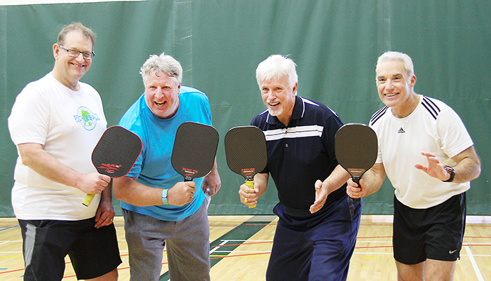 From left, CK Pickleball Club president Jay Salisbury, local radio personality Peter Cobb, Chatham-Kent Essex MPP Rick Nicholls and Chatham-Kent Chief of Police Gary Conn took part in the Pickleball for Hospice events on the weekend at the Thames Campus HealthPlex.