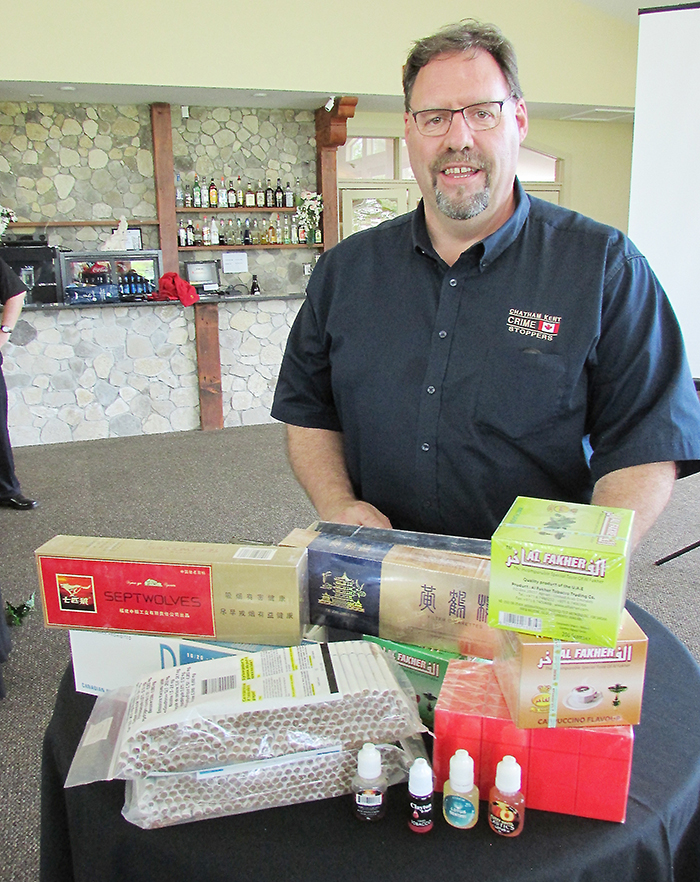Chatham-Kent Crime Stoppers police co-ordinator Dave Bakker shows the different kinds of contraband tobacco products showing up and being seized by Ministry of Finance investigators.