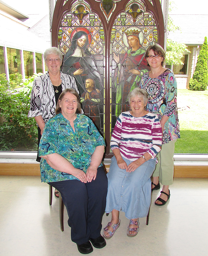 Back row, sisters Theresa Campeau and Noreen Allossery-Walsh; front row, Sheila McKinley and Pauline Maheux are the new leaders of the Ursuline Sisters. The order held a general meeting last week and selected these sisters to lead.