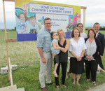 From left, Don and Jackie Lundy with daughter Sydney, 6, Donna Litwin-Makey, Tracy Bultje, Beth Cummings and Mike Grail proudly stand in front of the land the Children's Treatment Centre of Chatham-Kent Foundation has secured for a new building for the centre.