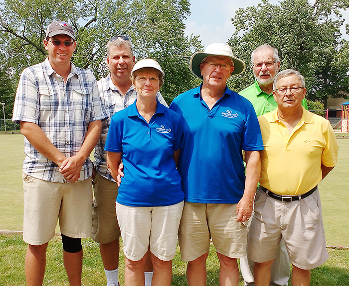 Judy and Brian Doidge, centre, took top spot at Thursday's lawn bowling tournament held in Tecumseh Park. Matt and Ron Little, left, took second, while Brian Chambers and Duncan Smith, right, placed third.