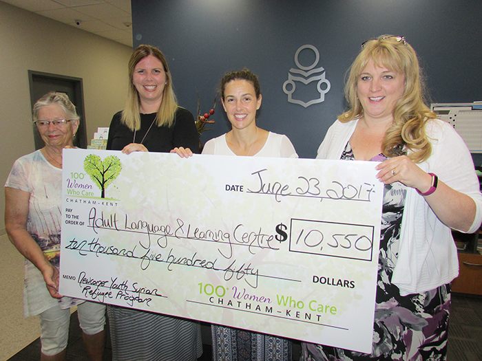 Adult Language and Learning Centre board chair Anne Gooch was on hand to accept a donation recently of $10,550 from 100+ Women Who Care Chatham-Kent chapter leaders Quinn O'Hara Lassaline and Rachel Raspburg, with Tracy Callaghan, executive director of the Centre.
