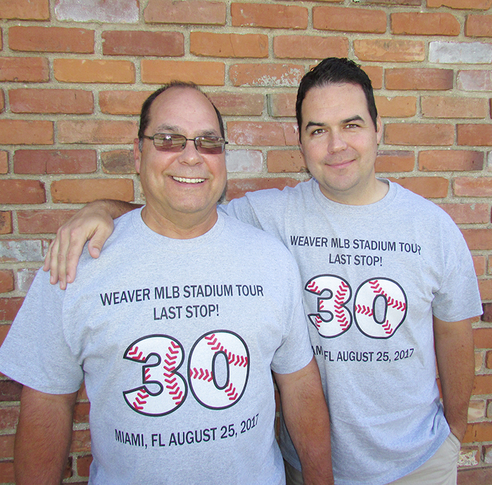 Mark and Ryan Weaver will soon complete a journey they started 19 years ago, watching a game in all 30 Major League Baseball parks.