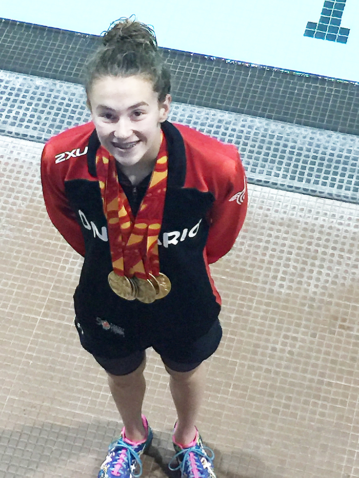 Chatham Y Pool Shark Genevieve Sasseville enjoyed a red-hot Canada Games last week in Winnipeg, bringing home five gold medals, one silver and one bronze, and breaking a Games record in the process.